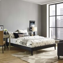 Tessie Full Vinyl Bed Frame with Squared Tapered Legs in Black