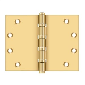 "4 1/2""x 6"" Square Corner Hinge, Ball Bearing - PVD Polished Brass Product Image"