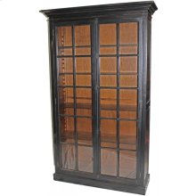 Black Bookcase with Glass Doors