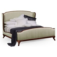 Cali King Louis XV Mahogany Bed, Upholstered in Duck Egg Silk