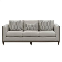 Addison Leather Sofa With Wooden Base in Frost Grey Product Image