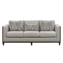 Addison Leather Sofa With Wooden Base in Frost Grey