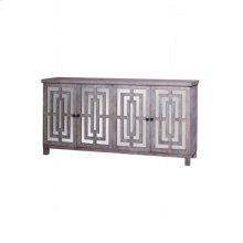 ABBOTT SIDEBOARD  Gray Wash Finish on Hardwood with Plain Finish Beveled Mirror  4 Door