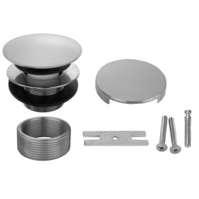 Polished Nickel - Round Top Toe Control Tub Drain with Round No Hole Faceplate