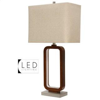 Wellwood Inner LED Table Lamp with Brushed Steel Base & Hardback Shade