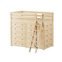 High Loft w/ Angle Ladder, 2 x5 Drawer Dressers & Narrow 5 Drawer Dresser : Twin : Natural : Slat