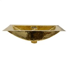 19.8 Inch x 12.8 Inch Hand Hammered Brass Rectangle Undermount Bathroom Sink with Overflow