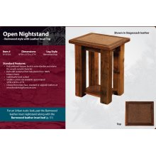 Barnwood Open Nightstand with Leather Inset Top