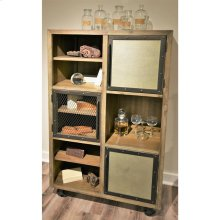 Liam - Caster Bookcase - Gray Acacia/galvanized Metal Finish