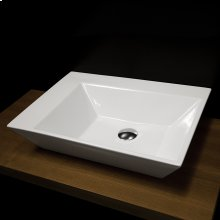 "Wall-mount or above-counter porcelain Bathroom Sink without an overflow, no faucet holes, 24 3/4""w, 17""d, 5 1/4""h"