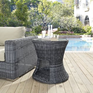 Summon Round Outdoor Patio Side Table in Gray
