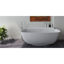 """Free-standing soaking bathtub made of white solid surface with an overflow, net weight 286 lbs, water capacity 61 gal. 62 1/4""""W, 32 1/4""""D, 23 5/8""""H."""