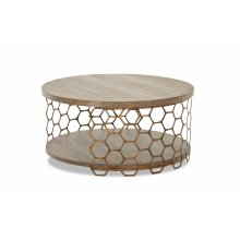 WP-5011-820  Round Cocktail Table  Distressed Wood Gold Metal