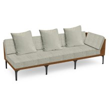 """98"""" Outdoor Tan Rattan 3 Seat L-Shaped Left Sofa Sectional, Upholstered in Standard Outdoor Fabric"""