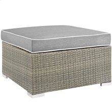 Repose Outdoor Patio Upholstered Fabric Ottoman in Light Gray Gray