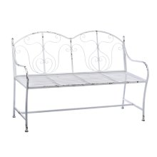 Distressed White Double Back Scroll Bench