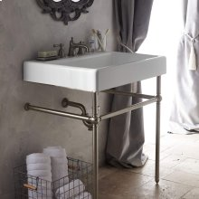 """Oak Hill 30"""" Bathroom Sink with Console - Canvas White / Brushed Nickel"""