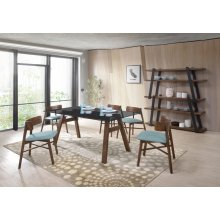 Modrest Travis Modern Blue & Walnut Dining Set