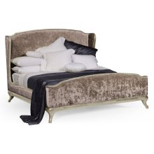 US King Louis XV Country Sage Bed, Upholstered in Truffle Velvet