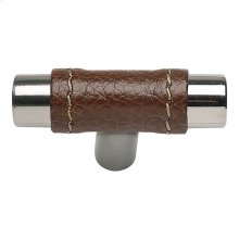 Zanzibar Brown Leather Knob 1 7/8 Inch - Polished Chrome