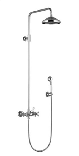 Shower mixer for wall-mounted installation with rainhead and hand shower set - chrome Product Image