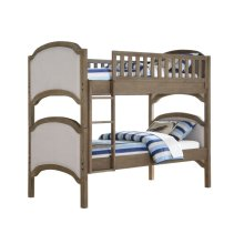 Complete Twin Bunk Bed Uph 2 Hdbds-2ftbds-4 Side Rails-1 Ladder-2 Guard Rails Gray #620