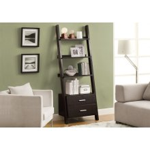 """BOOKCASE - 69""""H / CAPPUCCINO LADDER W/ 2 STORAGE DRAWERS"""