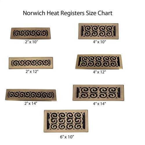 "Norwich Brass Heat Register - 4"" x 14"" (5 3/4"" x 15 1/2"") / Antique Brass"