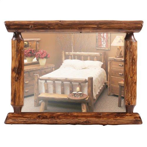 "Half-Log Mirror - 48"" x 36"" - Vintage Cedar"