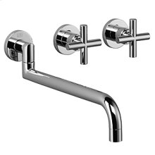 Wall-mounted three-hole kitchen mixer - chrome
