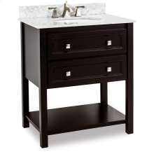 "31"" vanity with Black finish, clean lines, and complementary satin nickel hardware with preassembled top and bowl."
