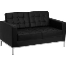 HERCULES Lacey Series Contemporary Black Leather Loveseat with Stainless Steel Frame