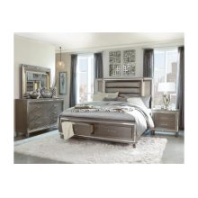 Queen Platform Bed with Footboard Storage, LED Lighting