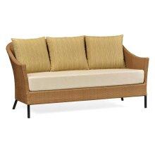 Tan Rattan Sofa, Upholstered in COM