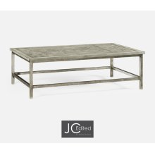 Rustic Grey Rectangular Coffee Table with Iron Base