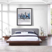 Freja 3 Piece Queen Fabric Bedroom Set in Walnut Gray