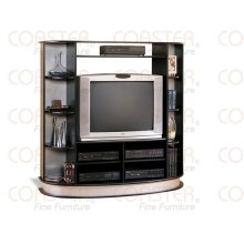 "ENTERTAIN CTR BLACK W/ SILVER ACCENT, FIT 36""TV"