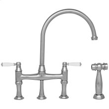 Queenhaus bridge faucet with a long goose neck swivel spout, porcelain handles, and a solid side spray.