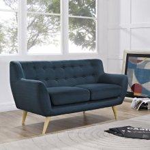Remark Upholstered Fabric Loveseat in Azure