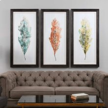 Tricolor Leaves Hand Painted Canvases, S/3