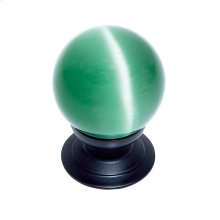 Oil Rubbed Bronze 30 mm Green Cat's Eye Knob