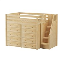 High Loft w/ Staircase & 2 x 5 Drawer Dressers : Full : Natural : Panel