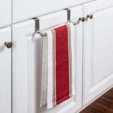 Over-the-Door Towel Bar Allows for Versatility in Hanging Options. Hang It on Either Side of your Cabinet Door with No Installation Needed. Non-absorbent Foam Backing Protects Doors From Wear. Finish: Stainless Steel