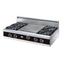"Chocolate 42"" Open Burner Rangetop - VGRT (42"" wide, four burners 18"" wide griddle/simmer plate)"
