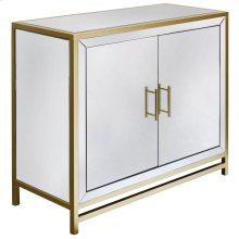 OLIVER CABINET  Beveled Mirror with Brass Trim  2 Door