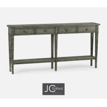 Antique Dark Grey Four Drawer Console