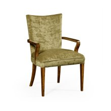 Biedermeier Style Walnut Dining Armchair (Lime Green)