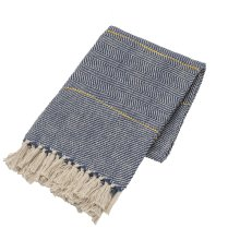 Blue & Natural with Yellow Stripe Woven Throw
