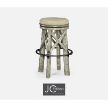 Country Style Rustic Grey & Iron Bar Stool, Upholstered in MAZO