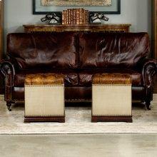 Elegant Petite Stool, Canvas & Leather